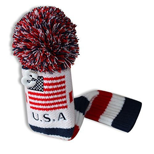 Craftsman Golf US Flag Knit Pom Pom White Blue Red Driver,Fairway Wood, Hybrid Head Cover Headcover for Callaway Mizuno Cobra Taylormade (#3 Wood Cover)