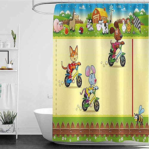 Tim1Beve Womens Shower Curtain,Kids Racing Mouse Cat and Dog on The Bike in Farm with Animal Comic Caricature Illustration,Shower stall Curtain,W47x63L Multicolor