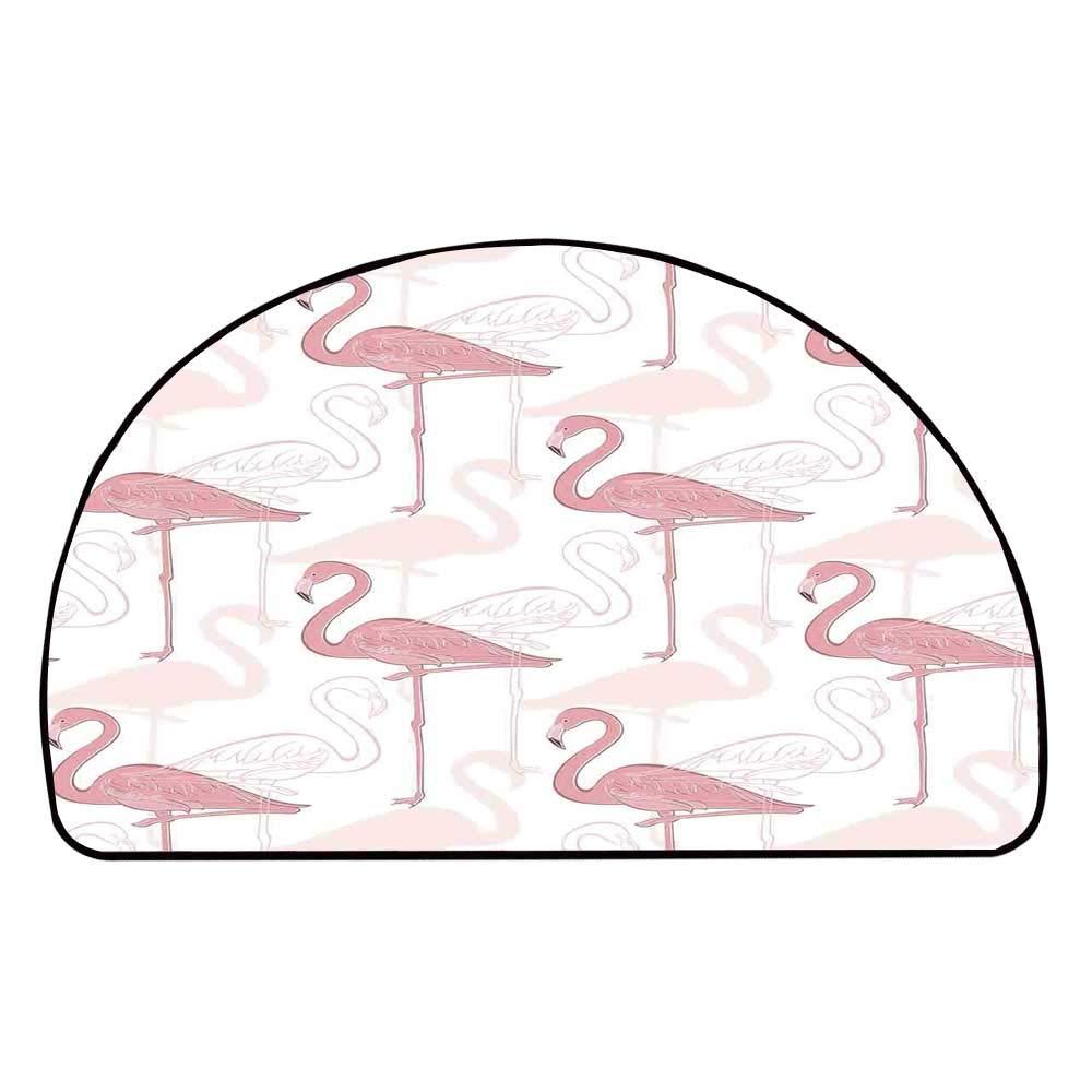 C COABALLA Flamingo Comfortable Semicircle Mat,Standing Flamingos Pattern Holiday Jungle Hawaii Wildlife Illustration for Living Room,11.8'' H x 23.6'' L