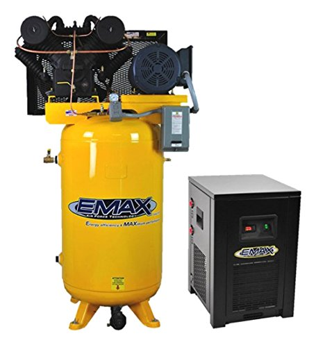 7.5 HP Air Compressor Package with 30 CFM Air Dryer, 1 PH, 80 Gallon, Industrial Plus Series, Model EP07V080V1PKG by EMAX Compressor
