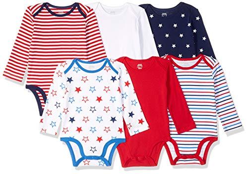 (Amazon Essentials Baby 6-Pack Long-Sleeve Bodysuit, Uni Americana)