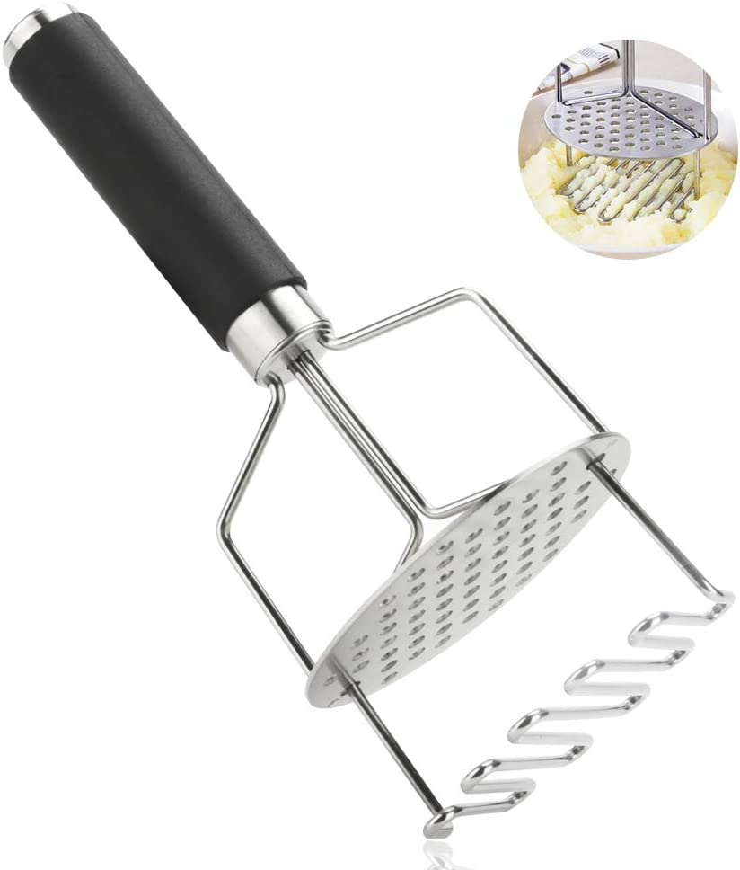Luckit Stainless Steel Potato Masher with Non Slip Handle Perfect Masher Kitchen Tools for Mashed Potatoes, Baby Food, Vegetable, Carrots, Fruits, Kitchen Baking