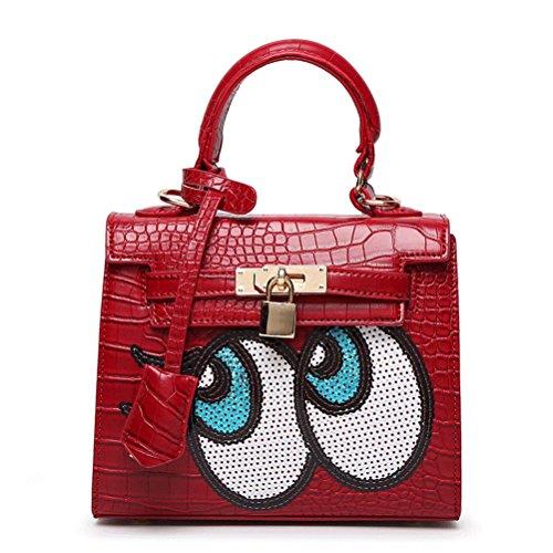 Women Korean Cute Design Crocodile Pattern Pu Leather Handbag Shoulder Bag Tote Bag Crossbody Bag Mothers' Day Gift (red)