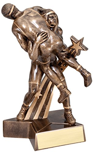 Resin Award Plaque (Male Wrestling Gold Star Resin Trophy Award - Customize Now - Personalized Engraved Plate Included & Attached to Award - Perfect Male Wrestling Award Trophy - Decade Awards)