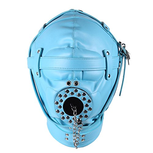 Uleade Faux Leather Mask Blindfolds, Sex Fetish Slave Hood For Sex Game ,Blue by Uleade