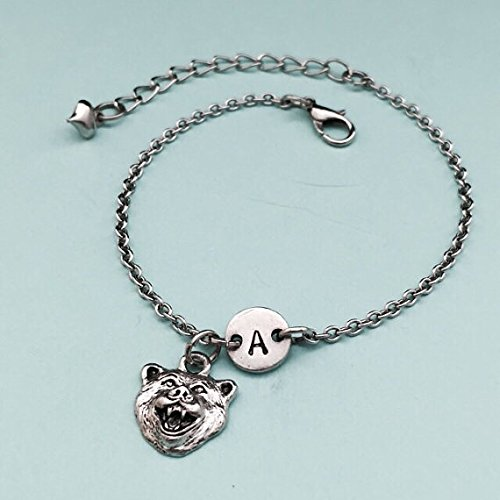 (Bear head charm bracelet, bear head charm, adjustable bracelet, animal, personalized bracelet, initial bracelet, monogram)