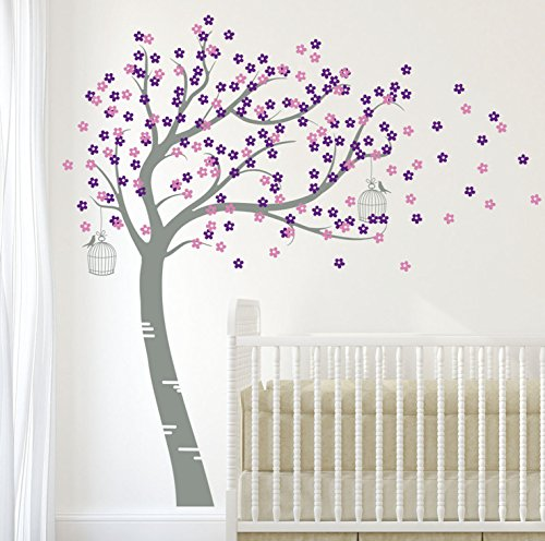 Bursting Blossoms - Design Divils Mid Grey, Pink and Purple Supreme Bursting Blossom Tree with Birds and Cages. Vinyl Matte Wall Decal Sticker DD006