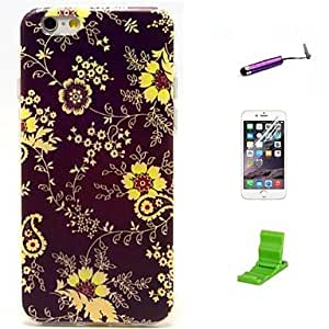 ZXSPACE Yellow Flower Pattern TPU Soft with Screen Protector and Stylus for iPhone 6
