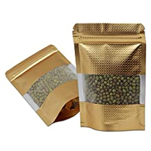 100 Pieces 3.9''x5.9'' Gold Resealble Stand Up Aluminum Foil Mylar Bags Food Grade Zip Lock Doypack Coffee Powder Package Pouch 10*15cm Heat Sealable Zipper Bag With Window