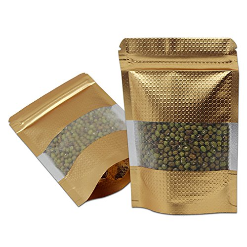 100Pcs Stand Up Mylar Bags Gold Aluminum Foil Packaging Bag with Line Clear Window Zip Lock Self Seal Food Storage Package Pouch (100, 3.5x5.1 inch)