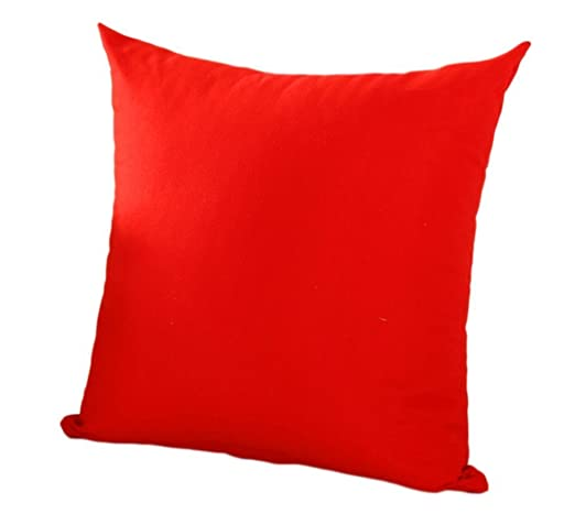 Vi.yo Funda de cojín para sofá, color puro, funda de cojín, funda de almohada para coche, dormitorio, sala de estar, algodón, Rojo, 40 x 40 cm