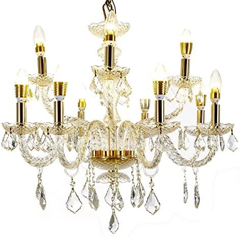 Top Lighting 12-Light Gold Finish Crystal Chandelier Pendant Ceiling Light Clear European Crystal, W27 x H25