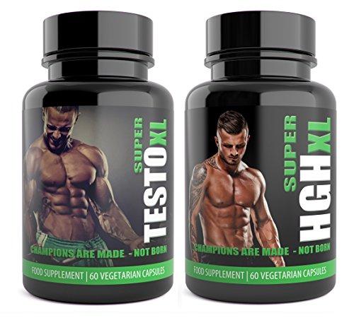 SUPER TESTO XL & SUPER HGH XL White Edition 1 Month Supplement Bundle HGH &...