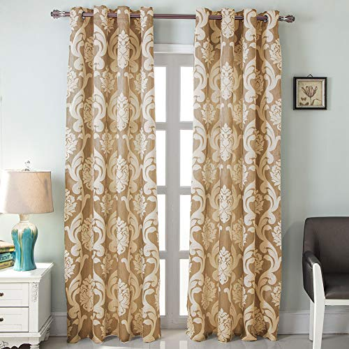 NAPEARL European Style Jacquard Semi-Blackout Grommet Top Window Curtain Panel Set of 2 Panels (Beige, 52