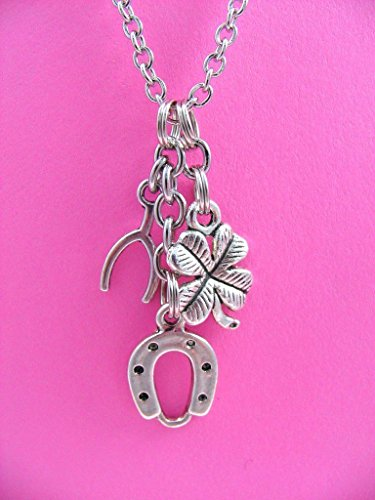 Lucky Charms Wishbone Horseshoe Four Leaf Clover Necklace
