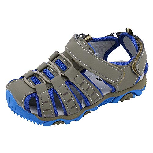 (Boys Girls Breathable Athletic Sandals,ONLY TOP Summer Sport Sandals Beach Water Closed-Toe Outdoor Athletic Shoes Grey)