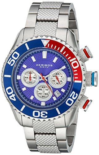Akribos XXIV Men's AK512BU Conqueror Large Diver's Chronograph Bracelet Watch (Diver Chronograph Bracelet)