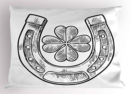 - Ambesonne Clover Pillow Sham, Good Luck Themed Illustration of Shamrock and Horseshoe Engraved Style, Decorative Standard King Size Printed Pillowcase, 36 X 20 Inches, Charcoal Grey and White