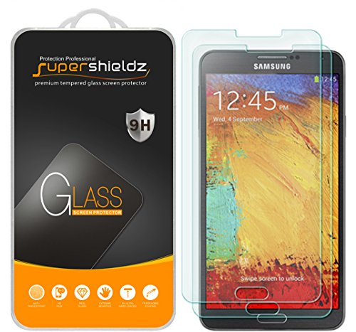 Supershieldz (2-Pack) for Samsung Galaxy Note 3 Tempered Glass Screen Protector, Anti-Scratch, Anti-Fingerprint, Bubble Free