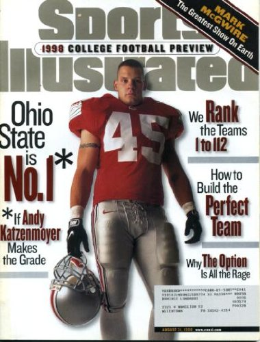 Sports Illustrated August 31 1998 Andy Katzenmoyer/Ohio State on Cover, College Football Preview, Mark McGwire/St. Louis Cardinals, John Avery /Miami Dolphins, Cade McNown/UCLA
