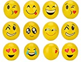 Bling Beauty Shop Inflatable Beach Balls, 12-Pack Emoji Party Supplies for Kids, 12'' Yellow Pool Swimming Water Toys for Teens Children Birthday Party Game Pack Favors, Random Emoji