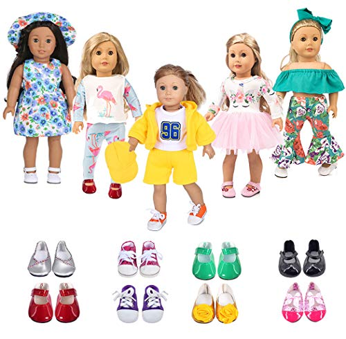 ebuddy 5 Sets Doll Clothes with 2 Pairs Shoes,Hat,Hair Band with Horn Style,Unicorn,Flamingo,Sports,Sun Flower for 18 inch American Girl,Our Generation Doll (Our Generation Doll Cloths)