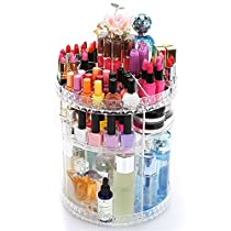 Choice Fun Rotating Makeup Organizer Acrylic Storage Shelves Display Diamonds Pattern