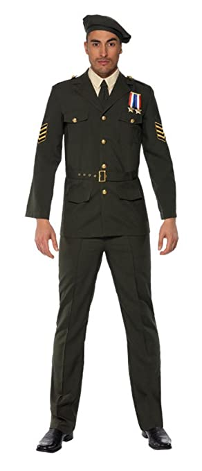 1940s Men's Suit History and Styling Tips Smiffys Mens Wartime Officer Dress With Trouser                                                            AT vintagedancer.com