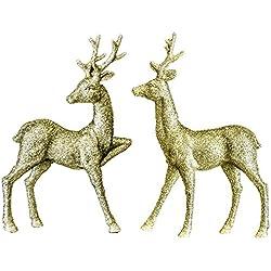 "Renaissance 2000 Inc 13"" & 13.25"" Gold Standing Reindeer 2pc Set Figures"