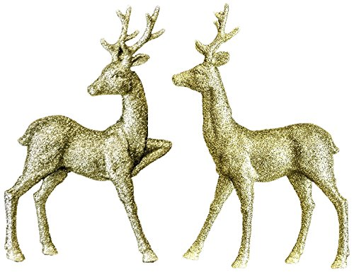 Christmas Tablescape Decor - Gold Standing Reindeer Figures 2-Piece Set