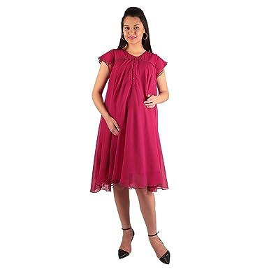 e6949f87fd3 Morph Gorgeous Pink Nursing Dress (Large)  Amazon.in  Clothing ...