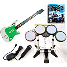 Playstation 3 PS3 Rock Band 2 Video Game Complete Bundle with Wireless Guitar and drums + USB Microphone hero kit set play music