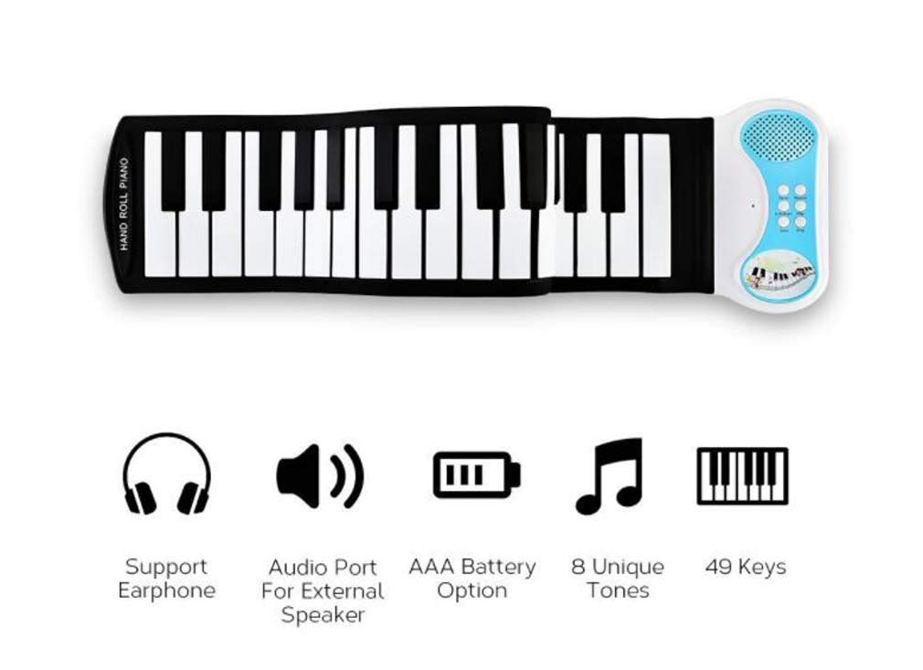 CE-LXYYD 49-Key Educational Electronic Digital Music Piano, Portable Keyboard w/Recording Feature Hand roll Piano, 8 Different Tones, 6 Educational Demo Songs & Build-in Speaker by CE-LXYYD (Image #4)