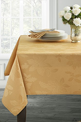 Poinsettia Legacy Damask Christmas Tablecloth