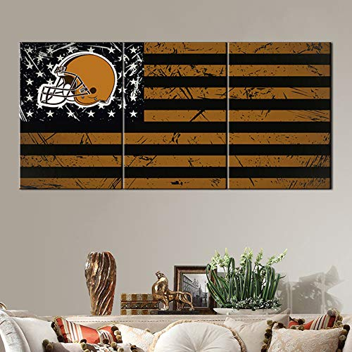 Cleveland Browns Paintings United States Flag Pictures for Living Room American Football Artwork 3 Piece Canvas Wall Art HD Prints Home Decor Wooden Framed Gallery-Wrapped Ready to Hang(60''Wx28''H)