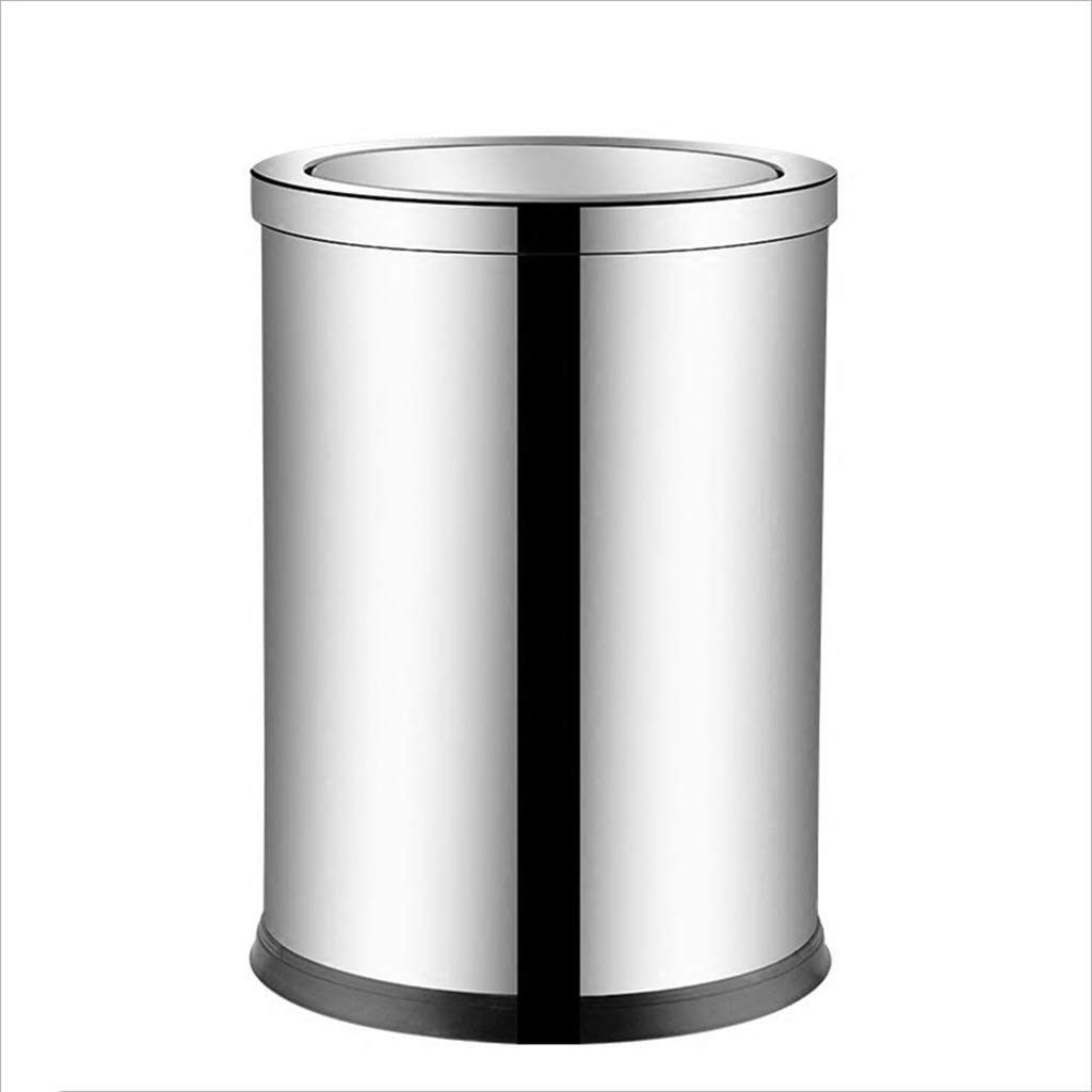 Wghfwx Stainless Steel Shake Cover Trash Can Leather Swing Garbage Bin Household Waste Bin, Office Hotel Living Room Sanitary Bucket (Size : 3924.8CM)