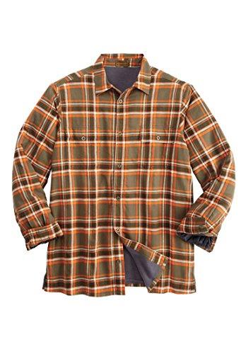 (Boulder Creek Men's Big & Tall Fleece-Lined Flannel Shirt Jacket, Olive Plaid)