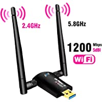 USB WiFi Adapter 1200Mbps,USB 3.0 Wireless Network Adapter WiFi Dongle for PC Desktop Laptop with Dual Band 2.4GHz…