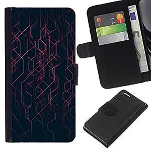 KingStore / Leather Etui en cuir / Apple Iphone 5C / Negro Rayas Energía Tech