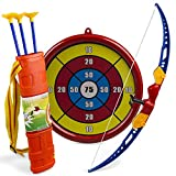 Kids Action Archery Bow And Arrow Toy With Set Of Target, Shoulder Strapped Quiver And 3 Suction Cup Arrows For Indoor And Outdoor Competition Game