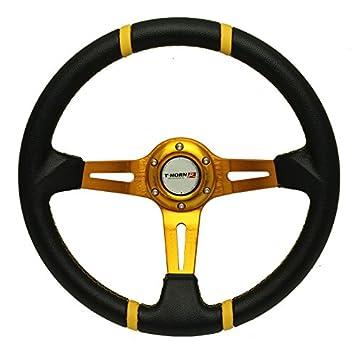 350MM SPPC Universal Deep Dish Drift Racing Steering Wheel Black PVC, Copper Spoke /& Mark /& Stich