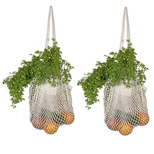 Best Net Shopping Bags - Reusable Fruit Hammock Bag - Organic Cotton Mesh Grocery Produce Bags with Handles - French Market Bags - Mesh Shopping Bags - Sturdy & Stretchable Net Tote Bags (2 Bags)