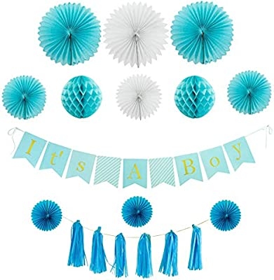 Houseables Baby Shower Decorations Banner Kit It S A Boy 10 Feet Blue Gold Letters Babyshower Supplies Garland Tissue Paper Balls Hanging