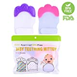 Hmane 1 Pair/2pcs Baby Teething Mitten Crawls Molar Summer Ice Silk Mitten Gum Pain Relife Teether Protective Glove for Toddlers FDA Approved - (Pink + Purple)