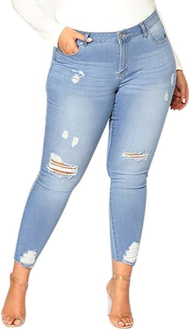 Familizo Vaqueros Rotos Mujer Vaqueros Mujer Tallas Grandes Vaqueros Altos Ajustados Pantalones Tejanos Largos Mujer Anchos Casual High Waist Leggings Amazon Es Ropa Y Accesorios
