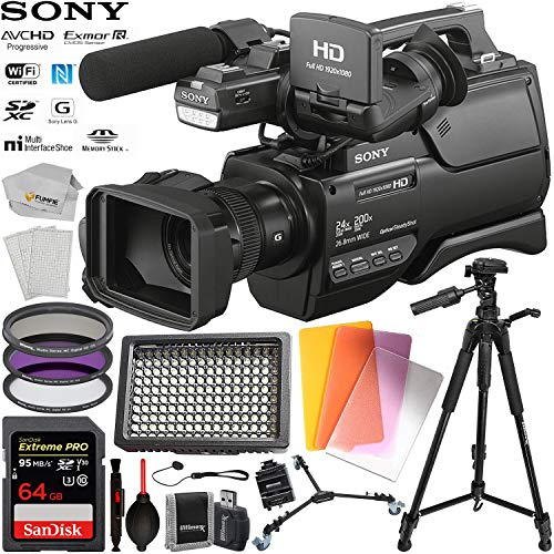 Sony HXR-MC2500 Shoulder Mount AVCHD Camcorder with SanDisk Extreme PRO 64GB SDXC UHS-I Class 10 Memory Card & 160 LED Professional Video Light & More (Best Sony Camcorder For Low Light)
