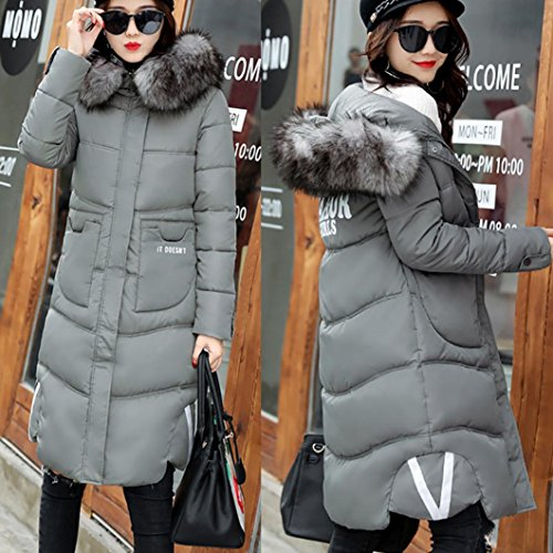 abrigo Casual de largo más chaqueta Mujer Outwear Down abrigo invierno gruesa Slim Gris WINWINTOM Lammy vFqwn51ZUZ