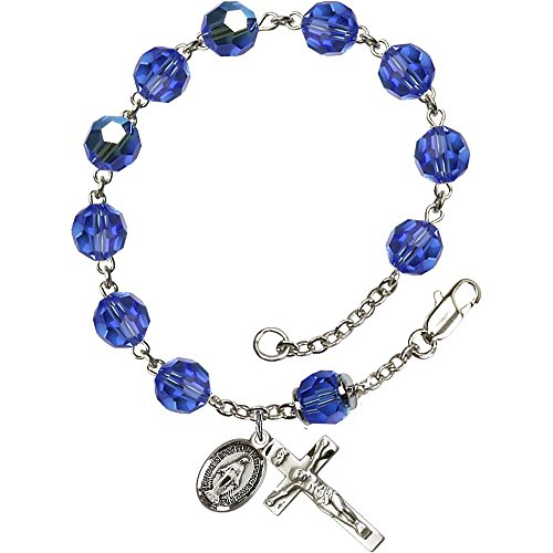 Sterling Silver Rosary Bracelet 8mm September Blue Swarovski, Capped Our Father Aurora Borealis beads, Crucifix sz 7/8 x 3/8. (Bracelets Swarovski Sterling Rosary)