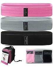 Weerstandsbanden, Lre Co. 3-pack trainingsbandensets met netzak, fitnesslusbanden met 3 verschillende weerstandsniveaus, workout-buitbanden voor dames Yoga, pilates, heupen en benen thuis