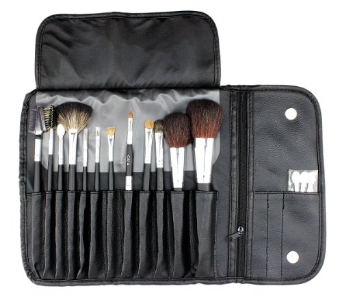 CALA Womens 12pc. Cosmetic Brush Kit Black Leather (Cala Makeup Brushes compare prices)